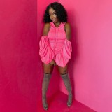 Autumn Pink Ruched Hoody Dress with Pop Sleeves