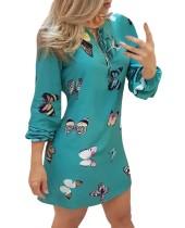 Mini-jurk met lange mouwen en gebonden hals