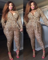 Plus Size Langarm Leopard Wrapped Jumpsuit
