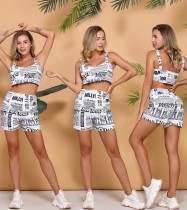 Summer White and Black Print Newsletter Crop Top and Shorts Set