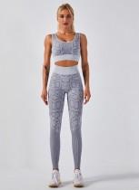 Sport Yoga Fitness Leopardenweste und Legging Set mit hoher Taille