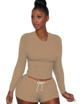 Conjunto de shorts e camisa de corrida em branco para outono 2 unidades