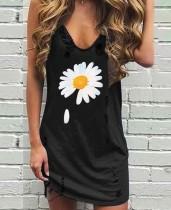 Vestido informal sin mangas con cuello en V negro floral
