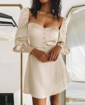 Herbst Vintage Sweetheart A-Linie Kleid mit Pop-Ärmeln