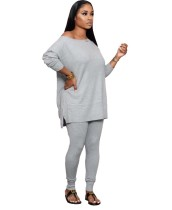Autumn Solid Plain Loose Shirt und Tight Legging Set