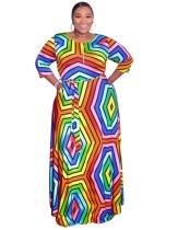 Vestido largo africano con cuello redondo y estampado geométrico de talla grande