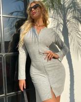 Herfst grijze lange mouwen rits mini-jurk