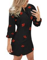 Print Long Sleeves Tied Neck Mini Dress