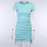 Mini vestido con pliegues y escote redondo casual
