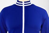 Fato de treino plus size outono casual manga comprida azul com zíper e detalhes de acabamento listrado