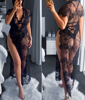 Sexy Black Lace See Through Lingerie Set