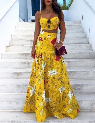 Summer Floral Yellow Matching Crop Top and Long Skirt Set