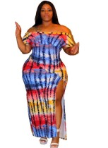 Vestido largo africano con hombros descubiertos y estampado de talla grande
