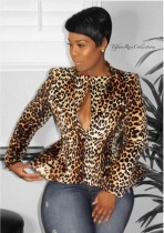 Top con peplum recortado de manga larga de leopardo maduro