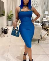 Vestido midi con escote redondo y sexy en azul puro