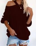 Otoño suéter suelto liso liso halter