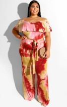 Plus Size Off Shoulder Tie Dye Jumpsuit mit Gürtel