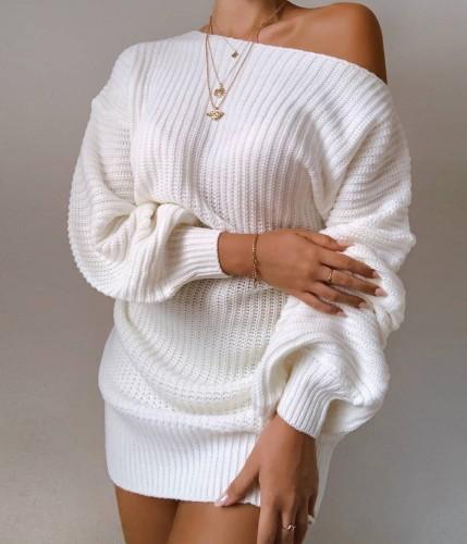 Mini abito lavorato a maglia con spalle scoperte sexy con maniche a pipistrello