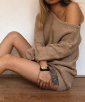 Sexy Slash Shoulder Knitted Mini Dress with Bat Sleeves