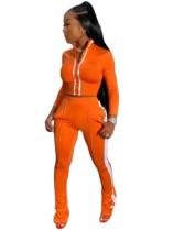 Herbst passendes Crop Top und Hosen Reißverschluss Trainingsanzug