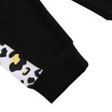 Tuta felpa con cappuccio leopardata abbinata autunno bambina