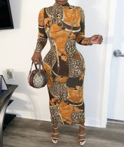 Afrikaanse print retro lange bochtige jurk met volledige mouwen