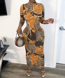 フルスリーブのアフリカンプリントレトロロングカービードレス
