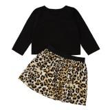 Set camicia nera autunnale per bambina e gonna leopardata