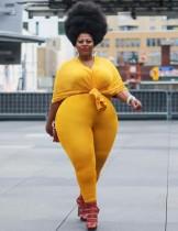 Conjunto de legging y camisa suelta lisa a juego de otoño de talla grande
