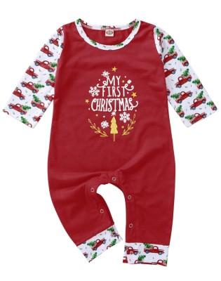 Tuta da neonato con stampa natalizia rossa