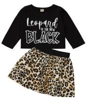 Çocuk Kız Sonbahar Siyah Gömlek ve Leopar Etek Seti