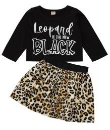 Conjunto de saia de leopardo e camisa preta de outono infantil