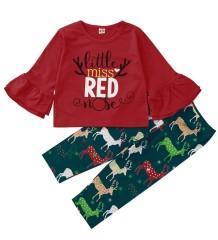 Conjunto de pantalones navideños con estampado de niña para niños
