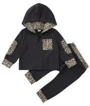 Chándal con capucha de leopardo de otoño para niños