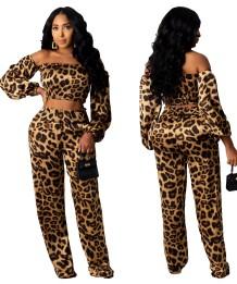 Autunno sexy leopardo senza spalline crop top e pantaloni a vita alta