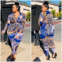 Blusa Plus Size Outono com Estampa Retro Africana e Calças Combinando