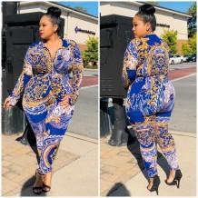 Plus size herfst print retro Afrikaanse blouse en bijpassende broek