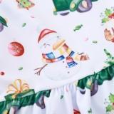 Детское рождественское платье трапециевидной формы с принтом для девочек