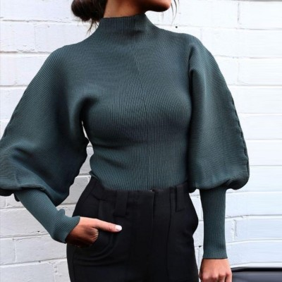 Sexy Tight Plain Knitted Top with Pop Sleeves