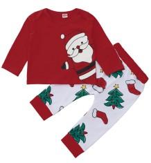 Conjunto de pijama de pantalones navideños con estampado de niña