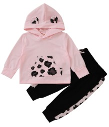 Kids Girl Autumn Matching Leopard Hoody Trainingsanzug