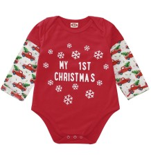 Baby Boy Print Christmas Red Rompers Jumpsuit