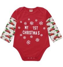 Mono rojo navideño con estampado de bebé niño