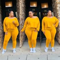 Plus Size Autumn Matching Plain Shirt und Legging Set