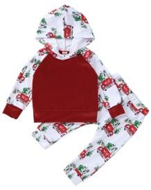 Sweatsuit com capuz infantil com estampa de natal