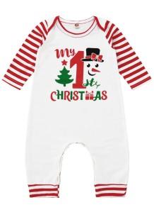 Combinaison barboteuse blanche imprimée de Noël pour bébé garçon