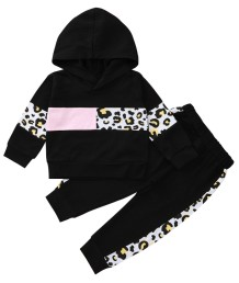 Kids Girl Autumn Matching Leopard Hoody Trainingsanzug