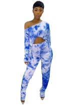 Top corto autunno tie-dye abbinato e set di leggings impilati a vita alta