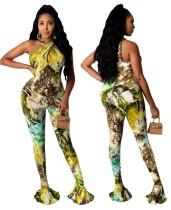 Twist Neckline Halter Print Flare Jumpsuit