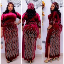 Plus Size Velvet Seitenschlitze Langes Kleid